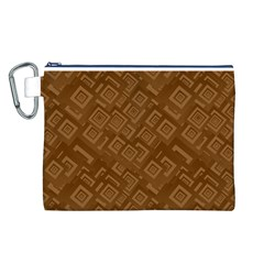 Brown Pattern Rectangle Wallpaper Canvas Cosmetic Bag (l)