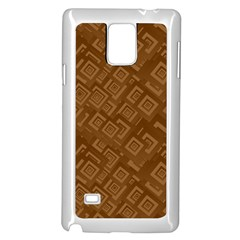 Brown Pattern Rectangle Wallpaper Samsung Galaxy Note 4 Case (White)