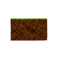 Brown Pattern Rectangle Wallpaper Cosmetic Bag (xs)