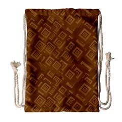 Brown Pattern Rectangle Wallpaper Drawstring Bag (Large)