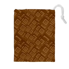 Brown Pattern Rectangle Wallpaper Drawstring Pouches (extra Large)