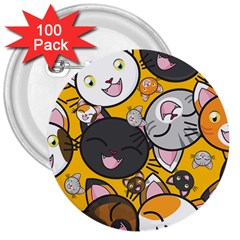 Cats pattern 3  Buttons (100 pack)