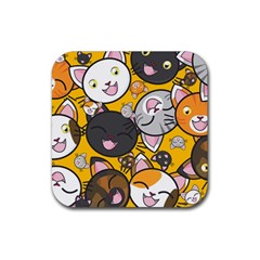 Cats pattern Rubber Square Coaster (4 pack)