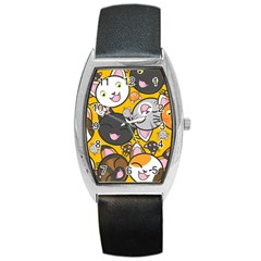 Cats pattern Barrel Style Metal Watch