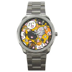 Cats pattern Sport Metal Watch