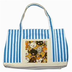 Cats pattern Striped Blue Tote Bag
