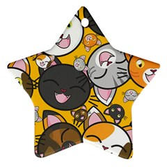 Cats pattern Star Ornament (Two Sides)