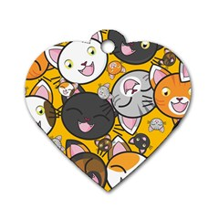 Cats pattern Dog Tag Heart (One Side)