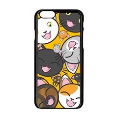 Cats pattern Apple iPhone 6/6S Black Enamel Case