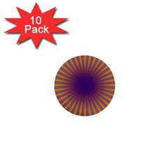 Retro Circle Lines Rays Orange 1  Mini Buttons (10 Pack)
