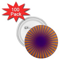 Retro Circle Lines Rays Orange 1 75  Buttons (100 Pack)