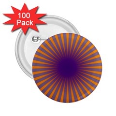 Retro Circle Lines Rays Orange 2 25  Buttons (100 Pack)