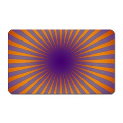 Retro Circle Lines Rays Orange Magnet (rectangular)