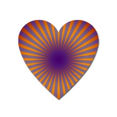 Retro Circle Lines Rays Orange Heart Magnet