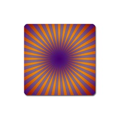 Retro Circle Lines Rays Orange Square Magnet