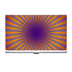 Retro Circle Lines Rays Orange Business Card Holders