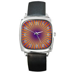 Retro Circle Lines Rays Orange Square Metal Watch