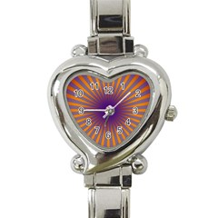 Retro Circle Lines Rays Orange Heart Italian Charm Watch