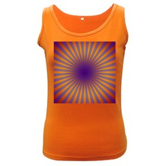Retro Circle Lines Rays Orange Women s Dark Tank Top
