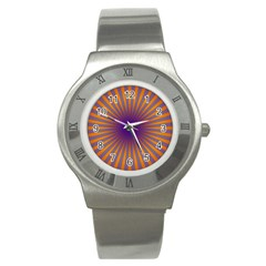 Retro Circle Lines Rays Orange Stainless Steel Watch