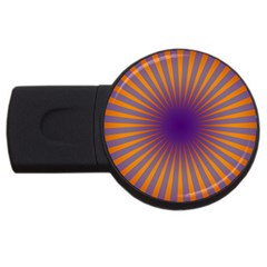 Retro Circle Lines Rays Orange Usb Flash Drive Round (4 Gb)