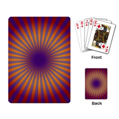 Retro Circle Lines Rays Orange Playing Card