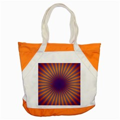 Retro Circle Lines Rays Orange Accent Tote Bag