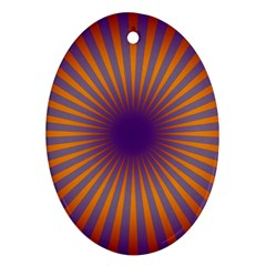 Retro Circle Lines Rays Orange Oval Ornament (two Sides)