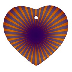 Retro Circle Lines Rays Orange Heart Ornament (two Sides)