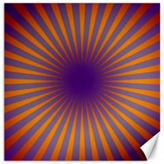 Retro Circle Lines Rays Orange Canvas 12  X 12