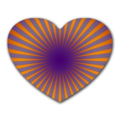 Retro Circle Lines Rays Orange Heart Mousepads