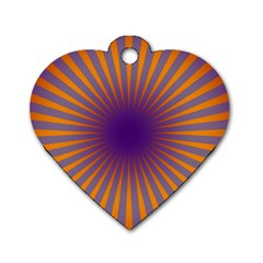 Retro Circle Lines Rays Orange Dog Tag Heart (two Sides)