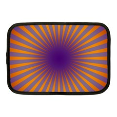 Retro Circle Lines Rays Orange Netbook Case (Medium)