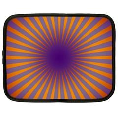 Retro Circle Lines Rays Orange Netbook Case (large)