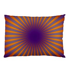 Retro Circle Lines Rays Orange Pillow Case