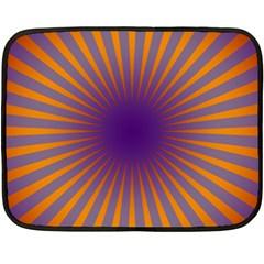 Retro Circle Lines Rays Orange Fleece Blanket (mini)