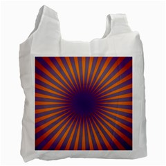 Retro Circle Lines Rays Orange Recycle Bag (two Side)