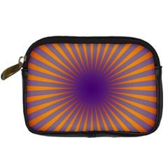 Retro Circle Lines Rays Orange Digital Camera Cases