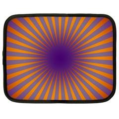 Retro Circle Lines Rays Orange Netbook Case (xxl)