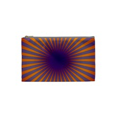 Retro Circle Lines Rays Orange Cosmetic Bag (small)