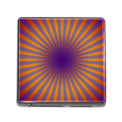 Retro Circle Lines Rays Orange Memory Card Reader (square)