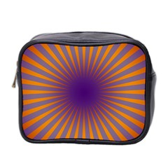 Retro Circle Lines Rays Orange Mini Toiletries Bag 2-Side