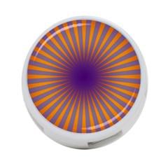 Retro Circle Lines Rays Orange 4 Port Usb Hub (two Sides)