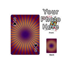Retro Circle Lines Rays Orange Playing Cards 54 (Mini)