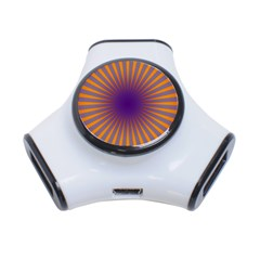 Retro Circle Lines Rays Orange 3-Port USB Hub
