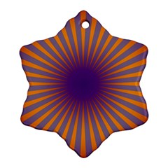 Retro Circle Lines Rays Orange Snowflake Ornament (two Sides)