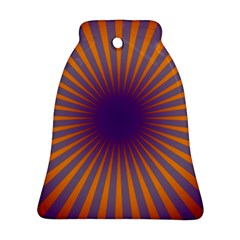 Retro Circle Lines Rays Orange Bell Ornament (two Sides)