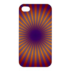 Retro Circle Lines Rays Orange Apple Iphone 4/4s Hardshell Case