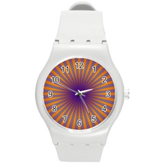 Retro Circle Lines Rays Orange Round Plastic Sport Watch (m)
