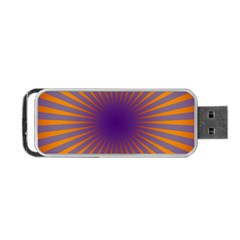 Retro Circle Lines Rays Orange Portable USB Flash (One Side)
